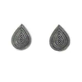 Batari Teardrop Tribal Silver Mixed Metal Earrings
