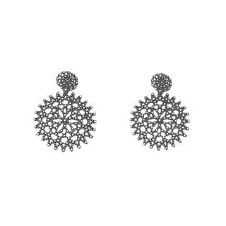 BATARI Filigree Vintage Silver Mandala Style Earrings
