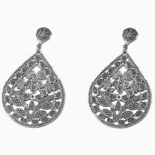 BATARI Filigree Style Vintage Silver Drop Earrings