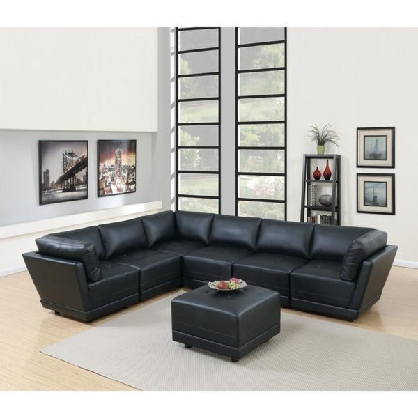 Cottage Bonded Leather Modular 7-PSC Sectional Sofa Set II