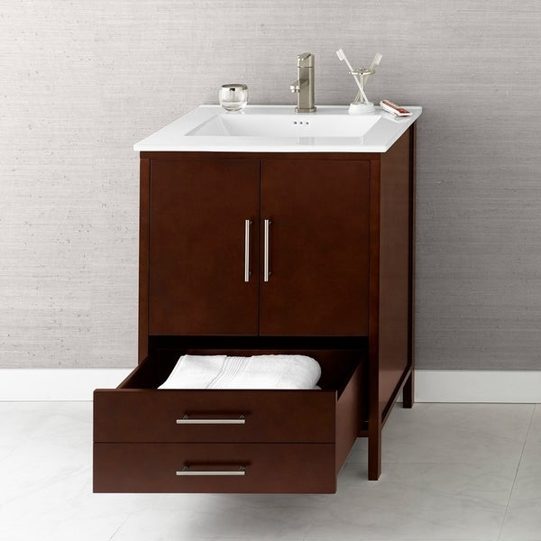 "30"" Juno Bathroom Vanity in Dark Cherry with Kara™ Ceramic Sinktop"