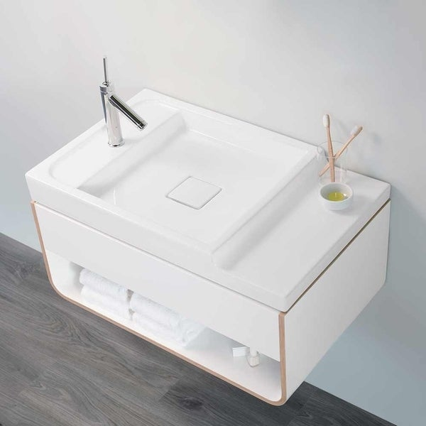 """31"""" Unity Wall Hung Vanity In Glossy White with Ceramic Vessel Sinktop"""