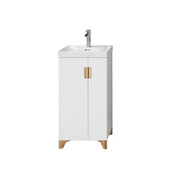"""18"""" Aravo Petite Vanity in Glossy White with Sinktop, 8"""" Faucet Hole"""