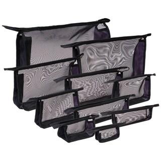 SHANY Black Mesh Travel Organizer Bag Set - Set of 10 in Variety Sizes