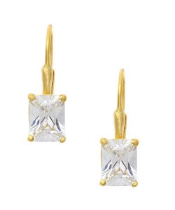Icz Stonez 18k Gold over Sterling Silver Rectangle CZ Earrings