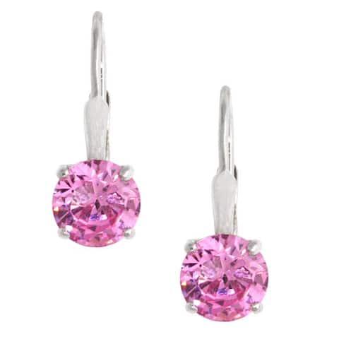 Icz Stonez Sterling Silver Pink CZ Leverback Earrings