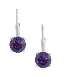 Icz Stonez Sterling Silver Purple CZ Leverback Earrings
