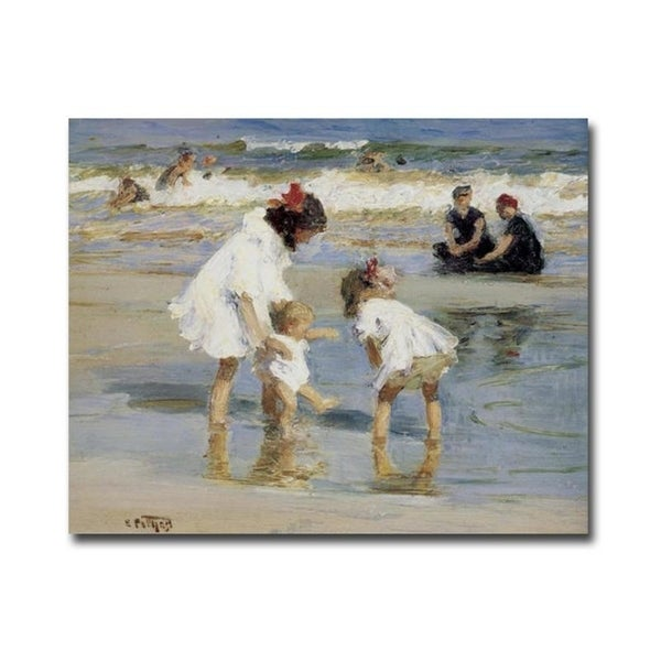 Children Playing at the Seashore by Edward Henry Potthast Gallery Wrapped Canvas Giclee Art (24 in x 30 in, Ready to Hang)