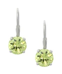 Icz Stonez Sterling Silver Light Green CZ Leverback Earrings