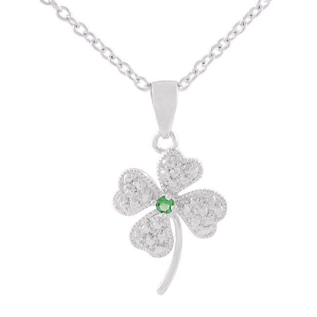 Journee Collection Sterling Silver Clover CZ Necklace