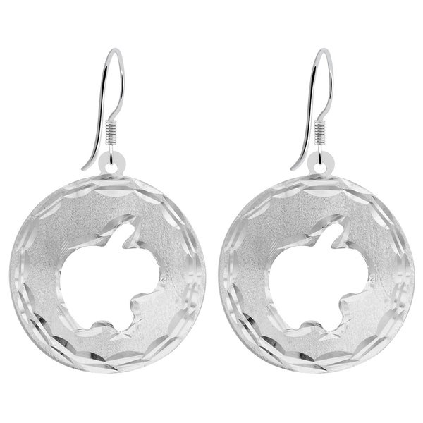925 Sterling Silver Polished /& Textured Circle Discs Dangle Earrings