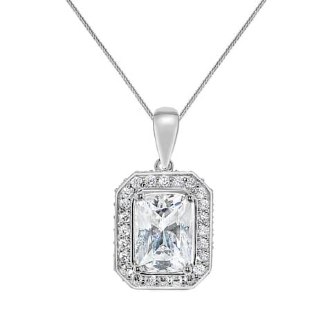 14k White Gold Emerald-cut Cubic Zirconia Halo Pendant with Wheat Chain