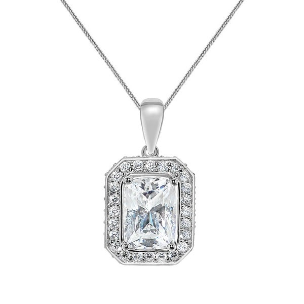 14k White Gold Emerald-cut Cubic Zirconia Halo Pendant with Wheat Chain. Opens flyout.
