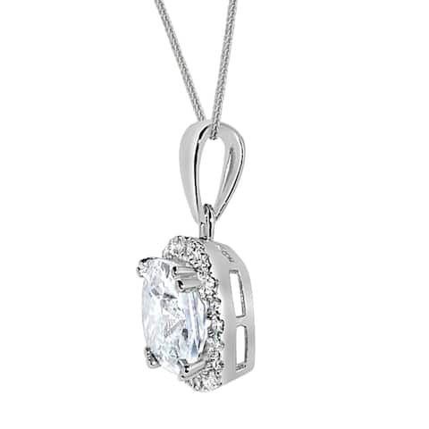 14k Gold Cushion-cut Cubic Zirconia Halo Pendant with Wheat Chain