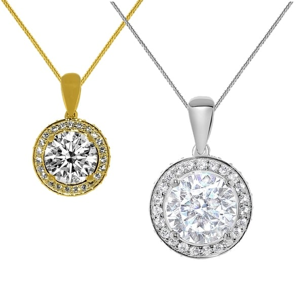 14k Gold Round-cut Cubic Zirconia Halo Pendant with Wheat Chain. Opens flyout.