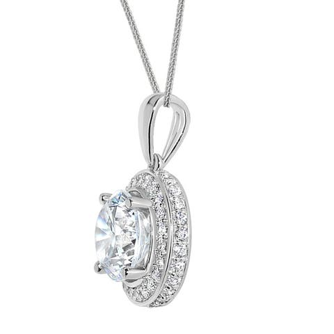 14k Gold Round-cut Cubic Zirconia Halo Pendant with Wheat Chain