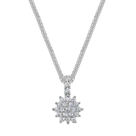 14k White Gold Cubic Zirconia Flower Pendant with Wheat Chain