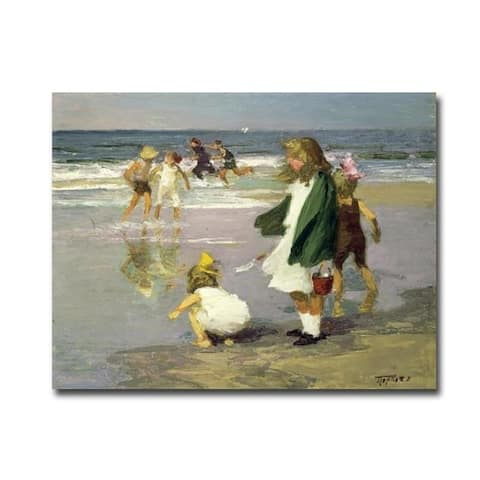 Play in the Surf by Edward Henry Potthast Gallery Wrapped Canvas Giclee Art (24 in x 32 in, Ready to Hang)