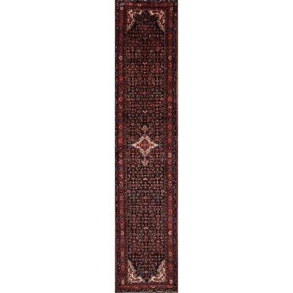 "Hamedan Handmade Floral Wool Persian Rug For Stairs - 17'2"" x 3'6"" runner"