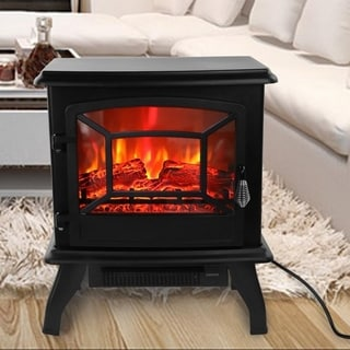 1400W Electric 68-95F Knob Control Flame Stove Fireplace Heater