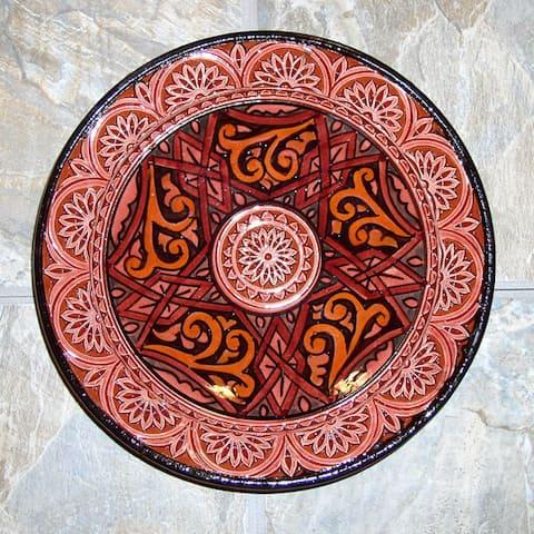 Handmade 10-inch Engraved Ceramic Plate (Morocco)
