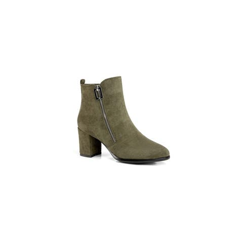 Ann Creek Womens Roux Faux Suede Zipper Booties