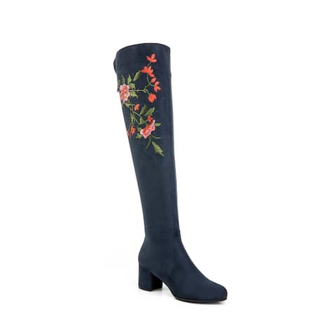 Ann Creek Women's 'Berea' Floral Embroidery Over-the-knee Rhinestone Boots