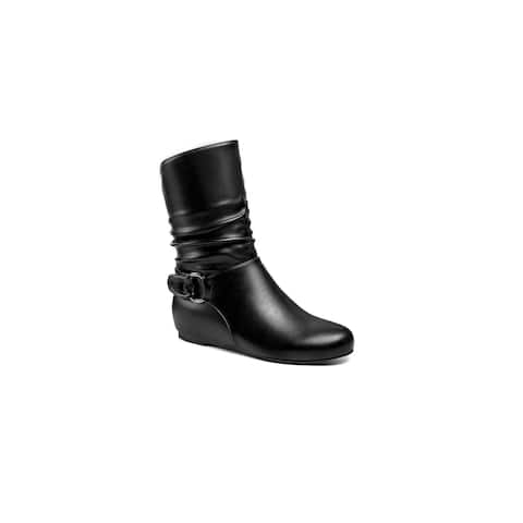 Ann Creek Women's 'Lorica' Buckle Strap Ruched Booties