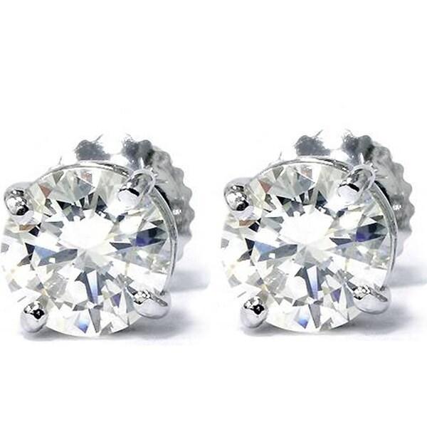 67374c4cf7436 Bliss 14k White Gold 1 5/8 ct TDW Diamond Screw Back Studs Clarity Enhanced  (G-H,SI2-I1)