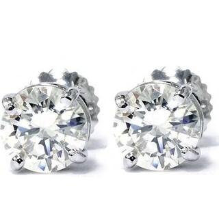 Bliss 14k White Gold 1 1/3 ct TDW Diamond Screw Back Studs Clarity Enhanced (G-H,SI2-I1)