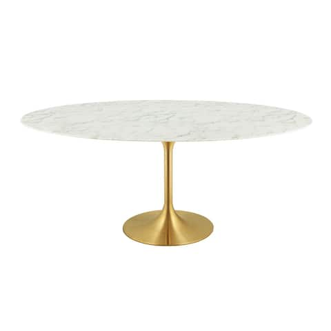 "Lippa 78"" Oval Dining Table - Gold White"