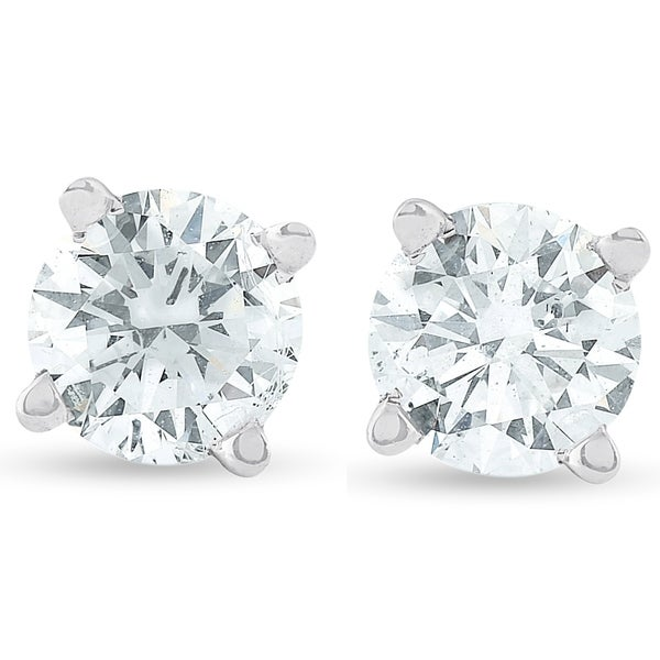 258173113 Shop Bliss 14k White Gold 1/2 ct TDW Diamond Studs Eco Friendly Lab Grown  (G-H/SI1-SI2) - On Sale - Free Shipping Today - Overstock - 25462861