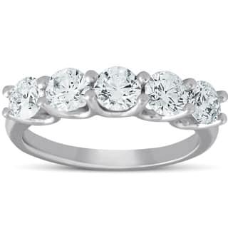 Pompeii3 14k White Gold 1 1/2 ct TDW Five Stone Diamond Wedding Ring Eco Friendly Lab Grown (G-H,SI1-SI2)