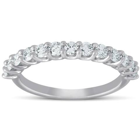 Pompeii3 14k White Gold 3/4 ct TDW Thirteen Stone Diamond Wedding Ring Eco Friendly Lab Grown (G-H,SI1-SI2)