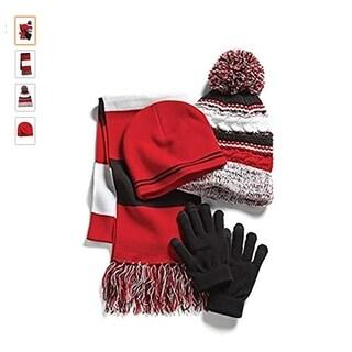 Sport-Tek Women's College Spirit Hat Scarf and Gloves 4 Piece Set
