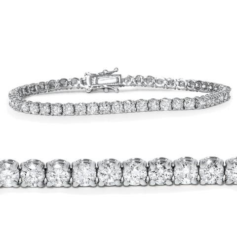 "Pompeii3 14k White Gold 5 ct TDW Diamond Tennis Bracelet 7"" Double Lock Clasp"