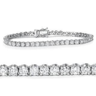 """Pompeii3 14k White Gold 5 ct TDW Diamond Tennis Bracelet 7"""" Double Lock Clasp"""
