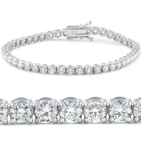 "Pompeii3 18k White Gold 7 ct TDW Diamond Tennis Bracelet 7"" Double Lock Clasp Lab Grown Eco Friendly (G-H,SI1-SI2)"