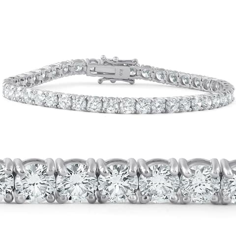 "Pompeii3 18k White Gold 10 ct TDW Diamond Tennis Bracelet 7"" Double Lock Clasp Lab Grown Eco Friendly (G-H,SI1-SI2)"