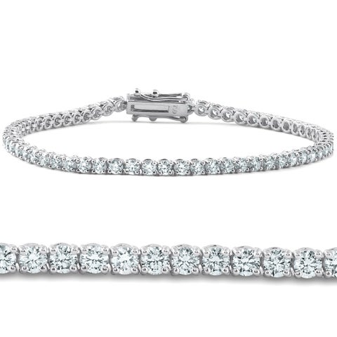 "Bliss 18k White Gold 4 ct TDW Diamond Tennis Bracelet 7"" Double Lock Clasp Lab Grown Eco Friendly (G-H,SI1-SI2)"