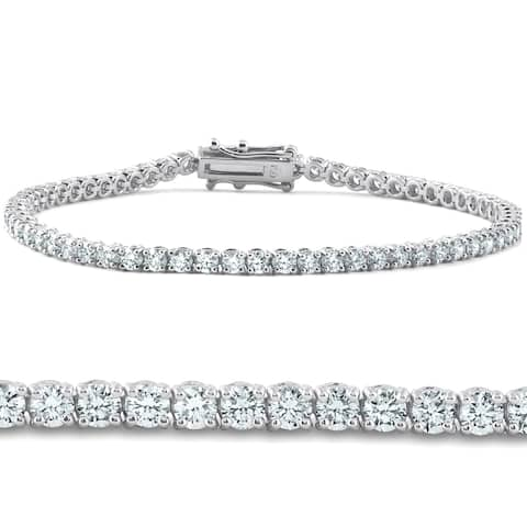 "Pompeii3 18k White Gold 4 ct TDW Diamond Tennis Bracelet 7"" Double Lock Clasp Lab Grown Eco Friendly (G-H,SI1-SI2)"