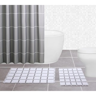 Sparrowhawk Brandon, Reversible 2-piece Gray/White Bath Rug Set - 1'5 x 2'