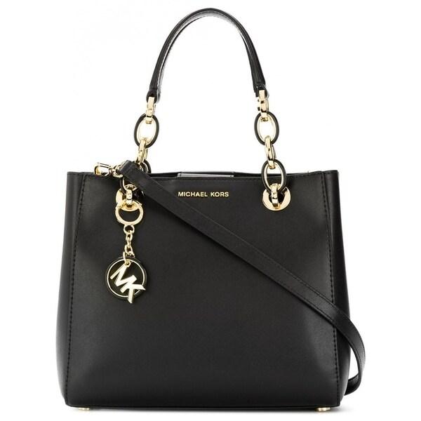 4da03dec6da8 Shop Michael Kors Cynthia Dressy Leather Satchel Bag Black - On Sale ...