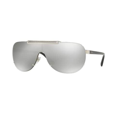 91f95ae864 Versace VE2140 Mens Silver Frame Light Grey Mirror Silver Lens Sunglasses