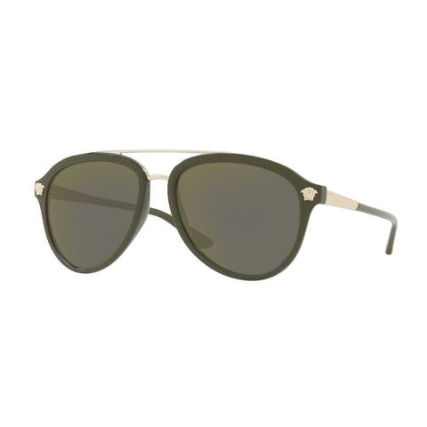 Versace VE4341 Mens Military Green Frame Dark Grey Mirror Gold Lens Sunglasses