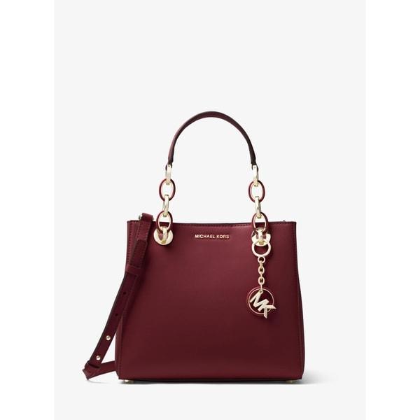 4c997ff3269f Shop Michael Kors Cynthia Dressy Leather Satchel Bag Oxblood - On ...