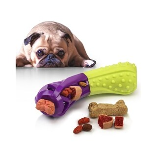 Fluffy Paws Interactive Pet Squeaky Treat Toy Chew Toy for Dogs Dental Health, Bone Shape