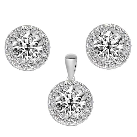 14K White Gold Cubic Zirconia Round-cut Double Halo Earring Pendant Set