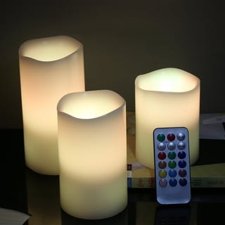 Wireless Remote Control Paraffin Candle Operated LED Flameless Candles 3 Sizes - multi-color