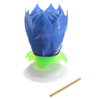 Romantic 14 Candle Musical Spinning Lotus Flower Rotating Birthday Gift Light